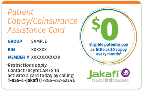 Image of a Patient Copay/Coinsurance Assistance Card